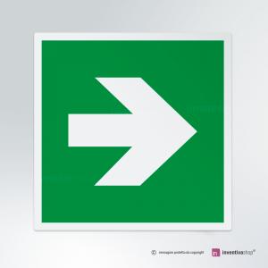 Cartello multi-materiale: Freccia uscita d'emergenza E005-E006