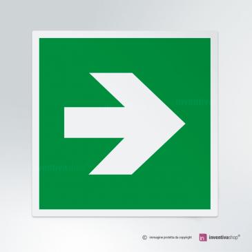 Cartello Freccia uscita d'emergenza E005 dx
