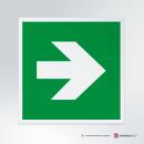 Cartello plexiglass su parete con distanziatori: Freccia uscita d'emergenza E005-E006