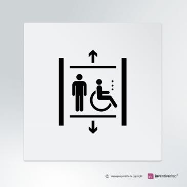 Cartello Ascensore Classic Uomo e Disabile