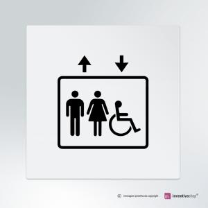 Cartello Ascensore Classic Uomo Donna e Disabile