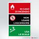 Cartello Non usare l'ascensore in caso di incendio - scale a sx