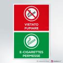 Adesivo Vietato fumare, sigarette elettroniche permesse
