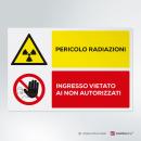 Adesivo Pericolo radiazioni, vietato l'ingresso ai non autorizzati