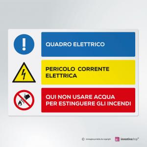Cartello multi-materiale: Quadro elettrico, pericolo