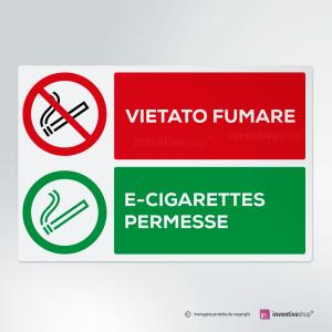 Cartello multi-materiale: Vietato fumare, sigarette elettroniche permesse