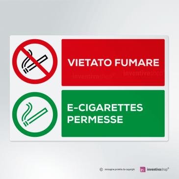 Cartello Vietato fumare, sigarette elettroniche permesse