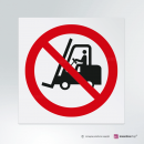 Adesivo Divieto di transito ai carrelli elevatori e altri veicoli industriali P006