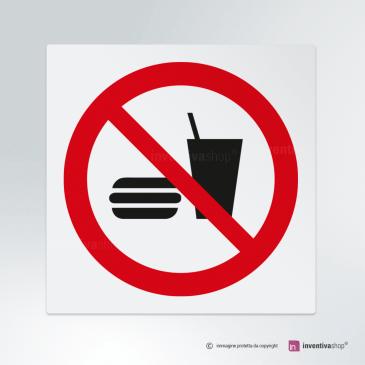 Cartello Vietato mangiare e bere P022