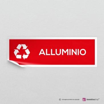 Adesivo Alluminio per raccolta differenziata mod.A: finitura Bianco