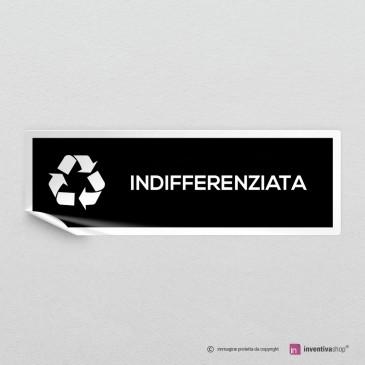 Adesivo Indifferenziata per raccolta differenziata mod.A: finitura Bianco