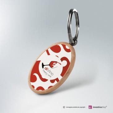 Portachiavi personalizzato in legno: ovale con logo stampato