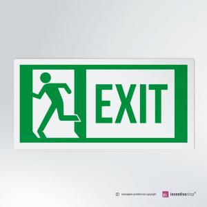 Cartello multi-materiale: Uscita d'emergenza EXIT rettangolare 2-1
