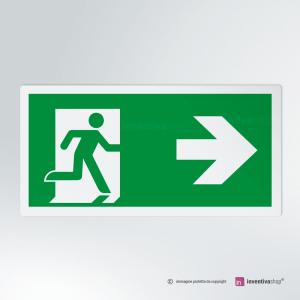 Cartello multi-materiale: Uscita d'emergenza rettangolare 2-1