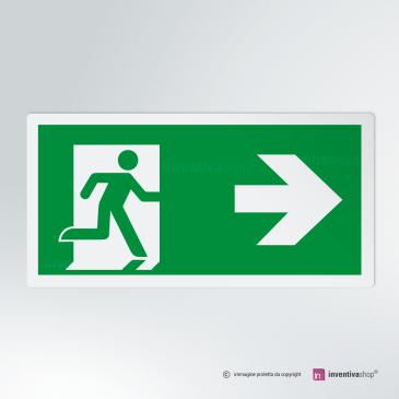 Cartello Uscita d'emergenza rettangolare 2-1 DX