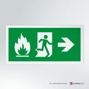Cartello multi-materiale: Uscita d'emergenza antincendio rettangolare 2-1