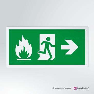Cartello Uscita d'emergenza antincendio rettangolare 2-1 DX