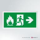 Cartello plexiglass su parete con distanziatori: Uscita d'emergenza antincendio rettangolare 2-1