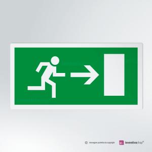 Cartello multi-materiale: Uscita di sicurezza rettangolare 2-1