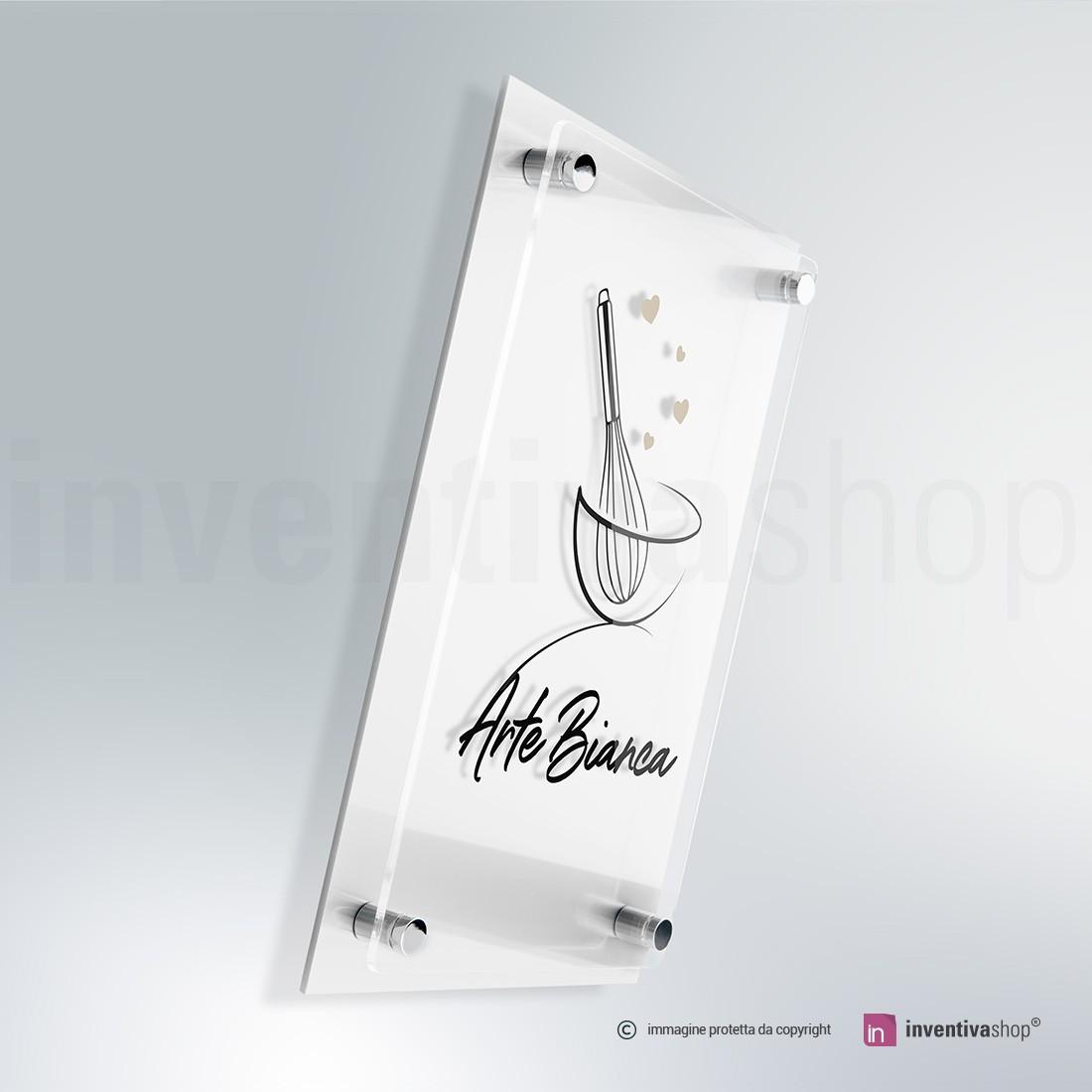 Targhe plexiglass doppia lastra bianca