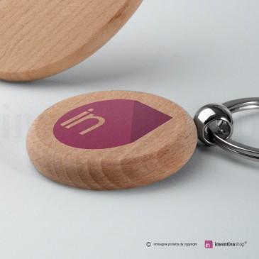 Portachiavi personalizzato in legno: rotondo