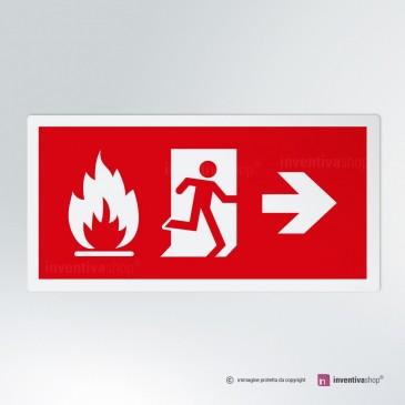 Cartello Uscita d'emergenza incendio direzionale rettangolare 2-1