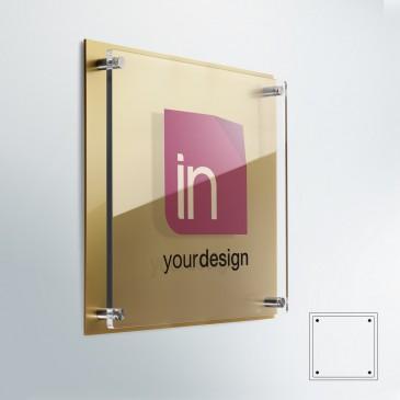 Targa DualPlate quadrata: fondo Plexiglass Gold