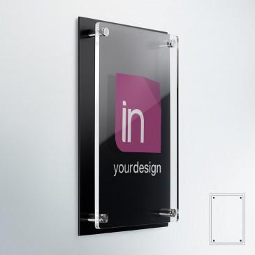 Targhe professionali DualPlate Verticale: fondo alluminio nero