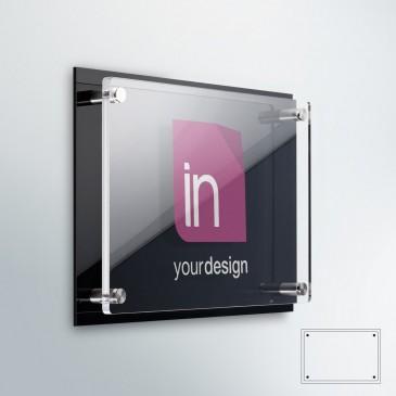 Targhe professionali plexiglass: DualPlate Orizzontale  fondo plexiglass nero lucido
