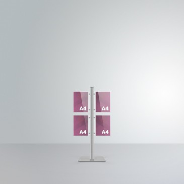 Espositore da terra alto 1 m Slend: 4 tasche A4 orientamento verticale