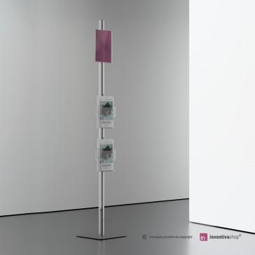 Espositore da pavimento con 2 tasche porta brochure + tasca per inserimento foglio