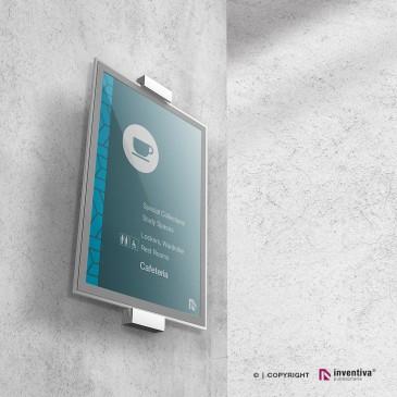 Porta avvisi da parete in plexiglass e apertura magnetica