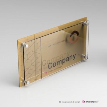 Targa plexiglass rettangolare doppia lastra personalizzata: DualPlate Gold