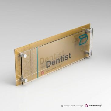 Targa plexiglass formato 3 a 1 doppia lastra personalizzata: DualPlate Gold