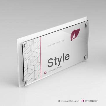 Targa plexiglass rettangolare doppia lastra personalizzata: DualPlate 2-1 Bianca