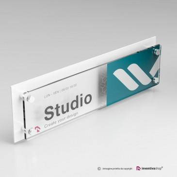 Targa plexiglass formato 4 a 1 doppia lastra personalizzata: DualPlate Bianco