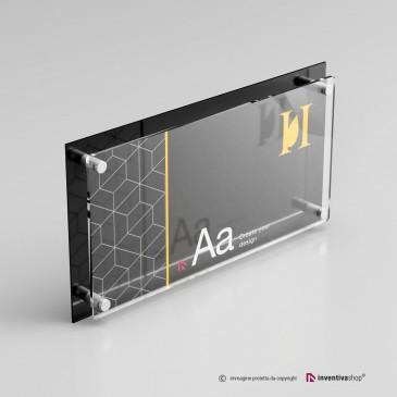 Targa plexiglass rettangolare doppia lastra personalizzata: DualPlate Nera