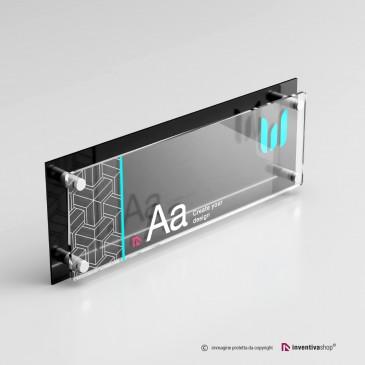 Targa plexiglass formato 3 a 1 doppia lastra personalizzata: DualPlate nera