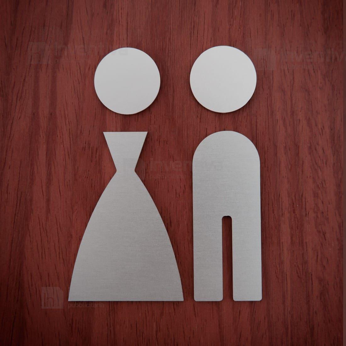 pittogrammi toilette in alluminio sagomate - Targhe Per Toilette