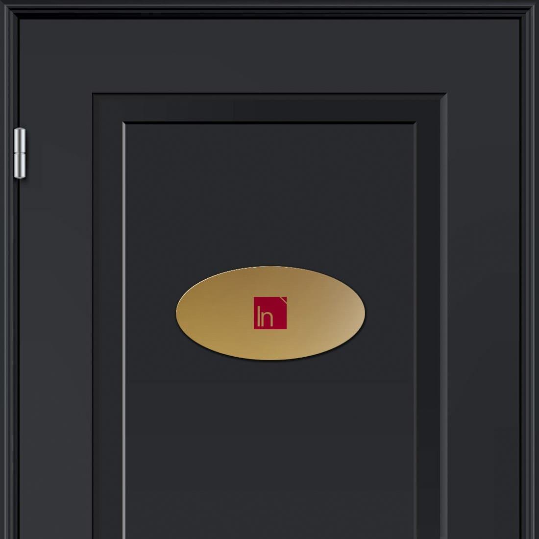 Targhetta alluminio ovale dorata crea le tue targhette - Targhette porta ...