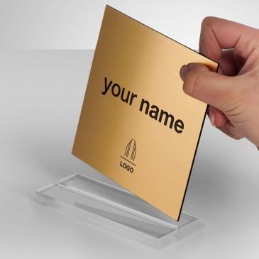 Portanome da scrivania Quadrata - Gold Inciso