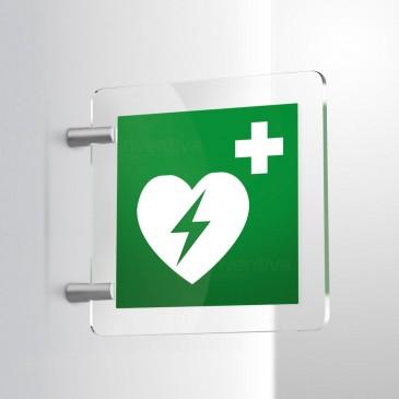 Cartello Defibrillatore a bandiera bifacciale