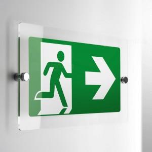 Cartello Plex: Direzionale uscita di emergenza monofacciale