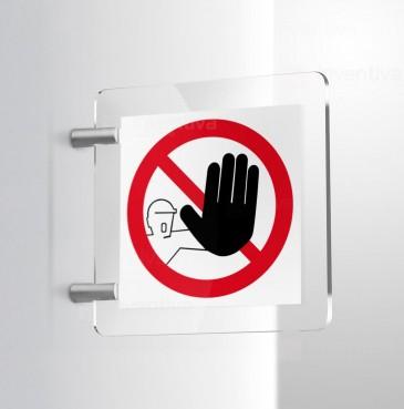 Cartello vietato l'accesso al non autorizzato bifacciale