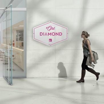 Insegna vintage in plexiglass: modello Diamond