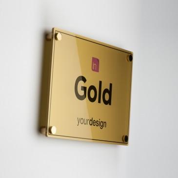 Targa Plexiglas Gold rettangolare orizzontale