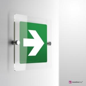 Cartello Plex: Freccia evacuazione E005 - E006 monofacciale