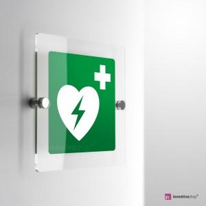 Cartello in plexiglass presenza defibrillatore