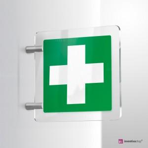 Cartello Plex: Croce pronto soccorso E003 bifacciale