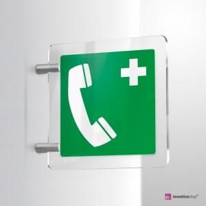 Cartello Plex: Telefono di emergenza E004 bifacciale